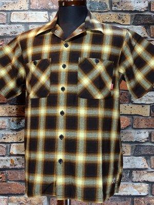 Bluco ブルコ  半袖チェックシャツ (OL-108CO-019) ombre check work shirts カラー:ブラウン