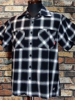 Bluco ブルコ  半袖チェックシャツ (OL-108CO-019) ombre check work shirts カラー:ブラック
