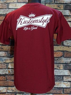 kustomstyle カスタムスタイル Tシャツ (KST1816CD) BUD カラー:カーディナルレッド