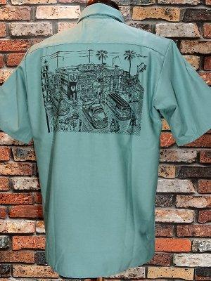 kustomstyle カスタムスタイル 半袖ワークシャツ (KSSWS1826LG) local liquor work shirts  カラー:ライトグリーン