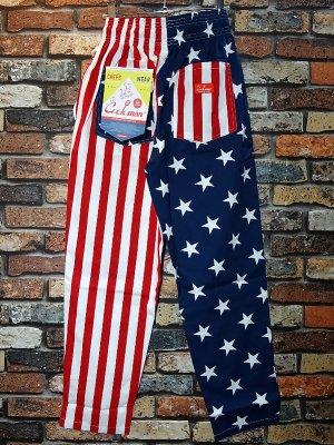 Cookman クックマン Chef Pants シェフパンツ ルーズフィット イージーパンツ (Crazy Pattern U.S.A.) コックパンツ カラー:ネイビー×レッド