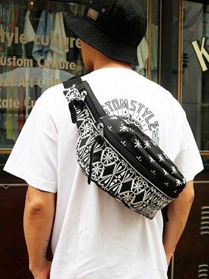 kustomstyle カスタムスタイル ウエストバッグ (FCWB0902BKWH) bandana waist bag embroidary カラー:ブラック×ホワイト刺繍