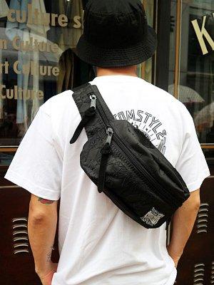 kustomstyle カスタムスタイル ウエストバッグ (FCWB0902BKBK) bandana waist bag embroidary カラー:ブラック×ブラック刺繍