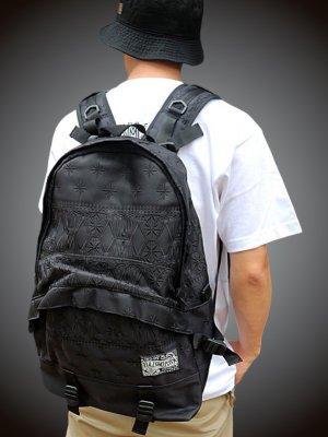 kustomstyle カスタムスタイル オリジナルバンダナ柄バックパック (FCBP0902BKBK) bandana back pack embroidary カラー:ブラック×ブラック刺繍