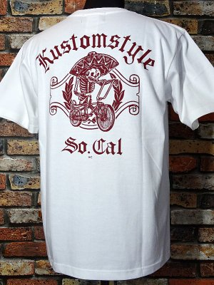 kustomstyle カスタムスタイル Tシャツ (KST0906WHBG) low rider bicycle カラー:ホワイト×バーガンディー