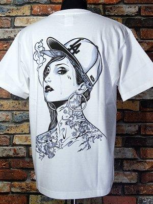 kustomstyle カスタムスタイル Tシャツ (KST1104WH) LA GIRL by J.ADAM  カラー:ホワイト
