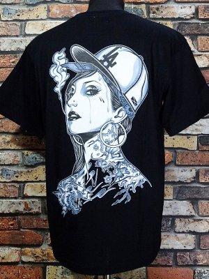 kustomstyle カスタムスタイル Tシャツ (KST1104BK) LA GIRL by J.ADAM  カラー:ブラック