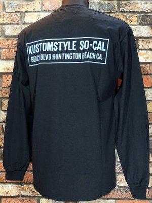 kustomstyle カスタムスタイル ロングスリーブTシャツ(KSTL1914BK) huntington beach ca long sleve tee カラー:ブラック