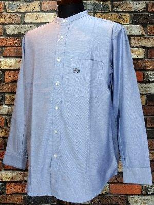 RealMinority リアルマイノリティー オックスフォード長袖スタンドカラーシャツ(GRAFFTAG)  oxford shirt  カラー:ブルー