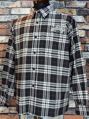 RealMinority リアルマイノリティー ビックシルエット 長袖チェックシャツ(script) check shirts カラー:ブラウン系チェック
