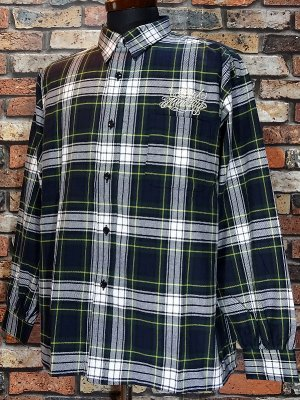 RealMinority リアルマイノリティー ビックシルエット 長袖チェックシャツ(script) check shirts カラー:グリーン系チェック