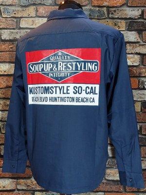 kustomstyle カスタムスタイル 長袖ワークシャツ (KSLS1916NY) soup up&restyling work shirts  カラー:ネイビー