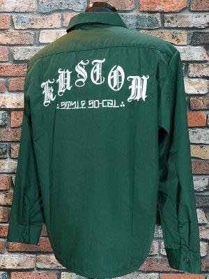 kustomstyle カスタムスタイル 長袖ワークシャツ (KSLS1810GR) mi vida loca work shirts  カラー:グリーン