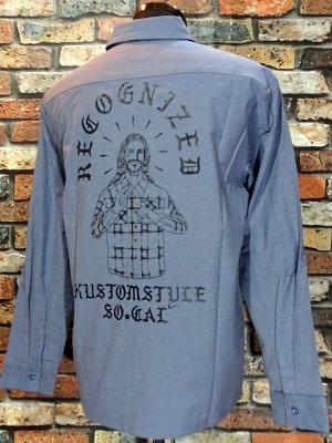 kustomstyle カスタムスタイル 長袖シャンブレー ワークシャツ (KSLS1903CH) recognized chambray work shirts  カラー:グレー