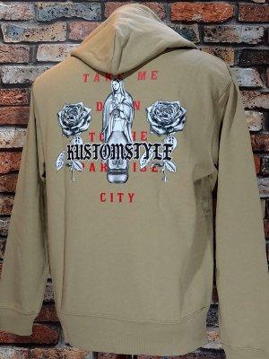 kustomstyle カスタムスタイル プルオーバー スウェットパーカー (KSP1919SKH) paradise city pullover hoodie カラー:サンドカーキ