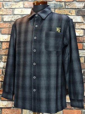 kustomstyle カスタムスタイル 長袖チェック ウールシャツ (KSLS1920BK) lynwood wool board shirts カラー:ブラック系