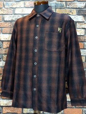 kustomstyle カスタムスタイル 長袖チェック ウールシャツ (KSLS1920BR) lynwood wool board shirts カラー:ブラウン系