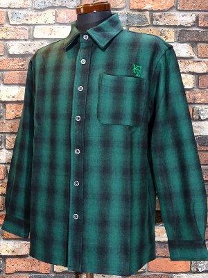 kustomstyle カスタムスタイル 長袖チェック ウールシャツ (KSLS1920GR) lynwood wool board shirts カラー:グリーン系