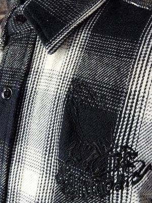 RealMinority リアルマイノリティー 長袖ワークシャツ ヘビーネルチェック  (praying hands) カラー:ブラックxホワイト
