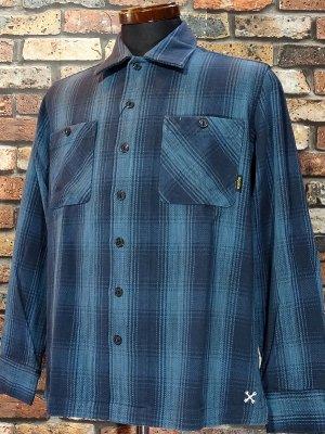 Bluco ブルコ  ヘビーネル 長袖チェックシャツ (OL-047-019) heavy nel check work shirts カラー:ブルー