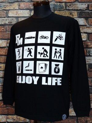 RealMinority リアルマイノリティー  ロングスリーブTシャツ (ENJOY LIFE) カラー:ブラック