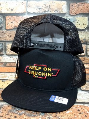 Brixton × Chevrolet メッシュキャップ truckin' hp mesh cap (BEL AIR BLACK)