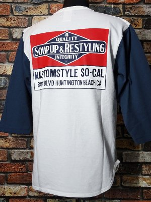 kustomstyle カスタムスタイル 3/4スリーブTシャツ (KST1916WHIND7) soup up&restyling カラー:ホワイト×インディゴブルー