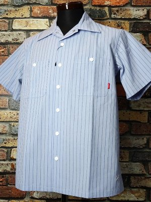 Bluco ブルコ  半袖ストライプ ワークシャツ (OL-108-020) work shirts カラー:サックス×ネイビーストライプ