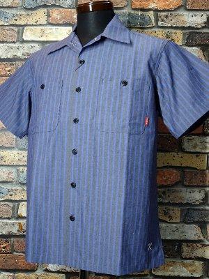 Bluco ブルコ  半袖ストライプ ワークシャツ (OL-108-020) work shirts カラー:グレー×ネイビーストライプ