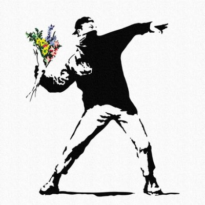 Banksy バンクシー 日本正規ライセンスの壁掛けキャンバス アート (花投げ)