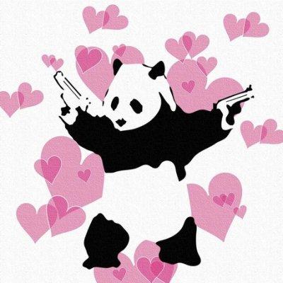 Banksy バンクシー 日本正規ライセンスの壁掛けキャンバス アート (パンダ)