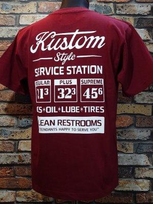 kustomstyle カスタムスタイル Tシャツ (KST2009BG) gas station カラー:バーガンディー
