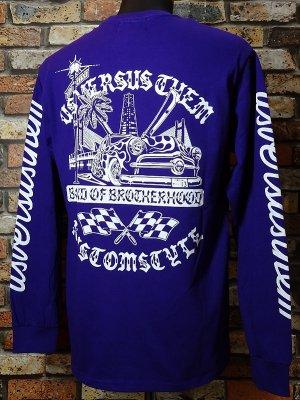 KUSTOMSTYLE×USVERSUSTHEM  ロングスリーブTシャツ(KSUVT005LSTPU) bond of brotherhood II long sleve tee カラー:パープル