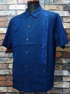 kustomstyle カスタムスタイル 半袖キューバシャツ (KSSS2011NY) nueva gerona guayabera short sleve shirts  カラー:ネイビー