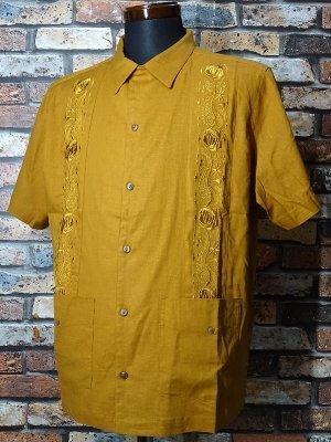 kustomstyle カスタムスタイル 半袖キューバシャツ (KSSS2011GO) nueva gerona guayabera short sleve shirts  カラー:ゴールド