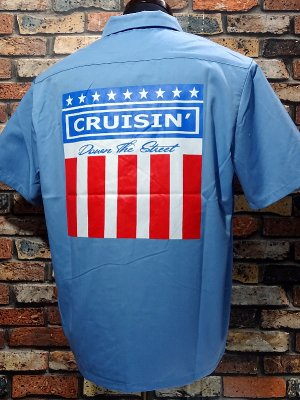 kustomstyle カスタムスタイル 半袖ワークシャツ (KSSWS2003BL) classic wheels short sleve work shirts  カラー:ブルー