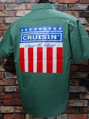 kustomstyle カスタムスタイル 半袖ワークシャツ (KSSWS2003GR) classic wheels short sleve work shirts  カラー:グリーン