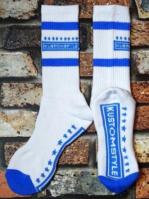 kustomstyle カスタムスタイル オリジナル ソックス (KSSOX-010LBL) classic wheels socks カラー:ホワイト×ライトブルー