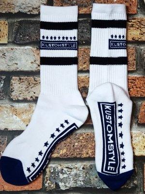 kustomstyle カスタムスタイル オリジナル ソックス (KSSOX-010BLK) classic wheels socks カラー:ホワイト×ブラック