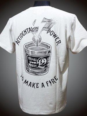parasite パラサイト 7.1ozポケット付きTシャツ (To Make a Fire) カラー:ホワイト