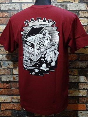 parasite パラサイト 5.6ozポケット付きTシャツ (6packeggs) カラー:バーガンディー