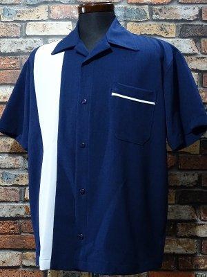 SteadyClothing ステディクロージング 半袖ボウリングシャツ pop check single panel shirt  カラー:ネイビー