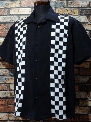 SteadyClothing ステディクロージング 半袖ボウリングシャツ checker shirt  カラー:ブラック