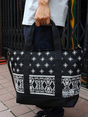 kustomstyle カスタムスタイル トートバッグ (FCTB0902BKWH) bandana 2way tote bag カラー:ブラック×ホワイト刺繍