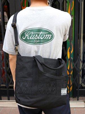 kustomstyle カスタムスタイル トートバッグ (FCTB0902BKBK) bandana 2way tote bag カラー:ブラック×ブラック刺繍