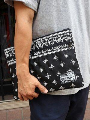 kustomstyle カスタムスタイル クラッチバッグ (FCCB0902BKWH) bandana clutch bag カラー:ブラック×ホワイト刺繍