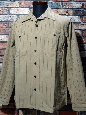 Bluco ブルコ  長袖ストライプ ワークシャツ (OL-109-020) work shirts カラー:ベージュ×ストライプ