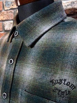 kustomstyle カスタムスタイル 長袖チェック ウールシャツ (KSLS2021GR) el monte wool board shirts カラー:グリーン