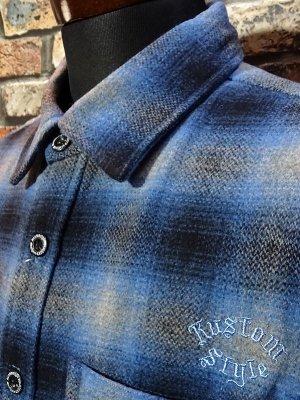 kustomstyle カスタムスタイル 長袖チェック ウールシャツ (KSLS2021BL) el monte wool board shirts カラー:ブルー