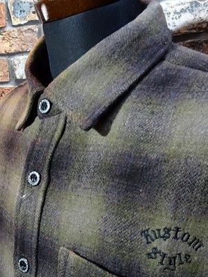 kustomstyle カスタムスタイル 長袖チェック ウールシャツ (KSLS2021BR) el monte wool board shirts カラー:ブラウン